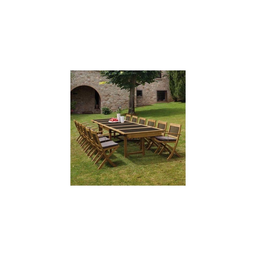 Salon de jardin 8 places Cetra en teck et acier: 1 table extensible + 8  chaises pliables - EMU