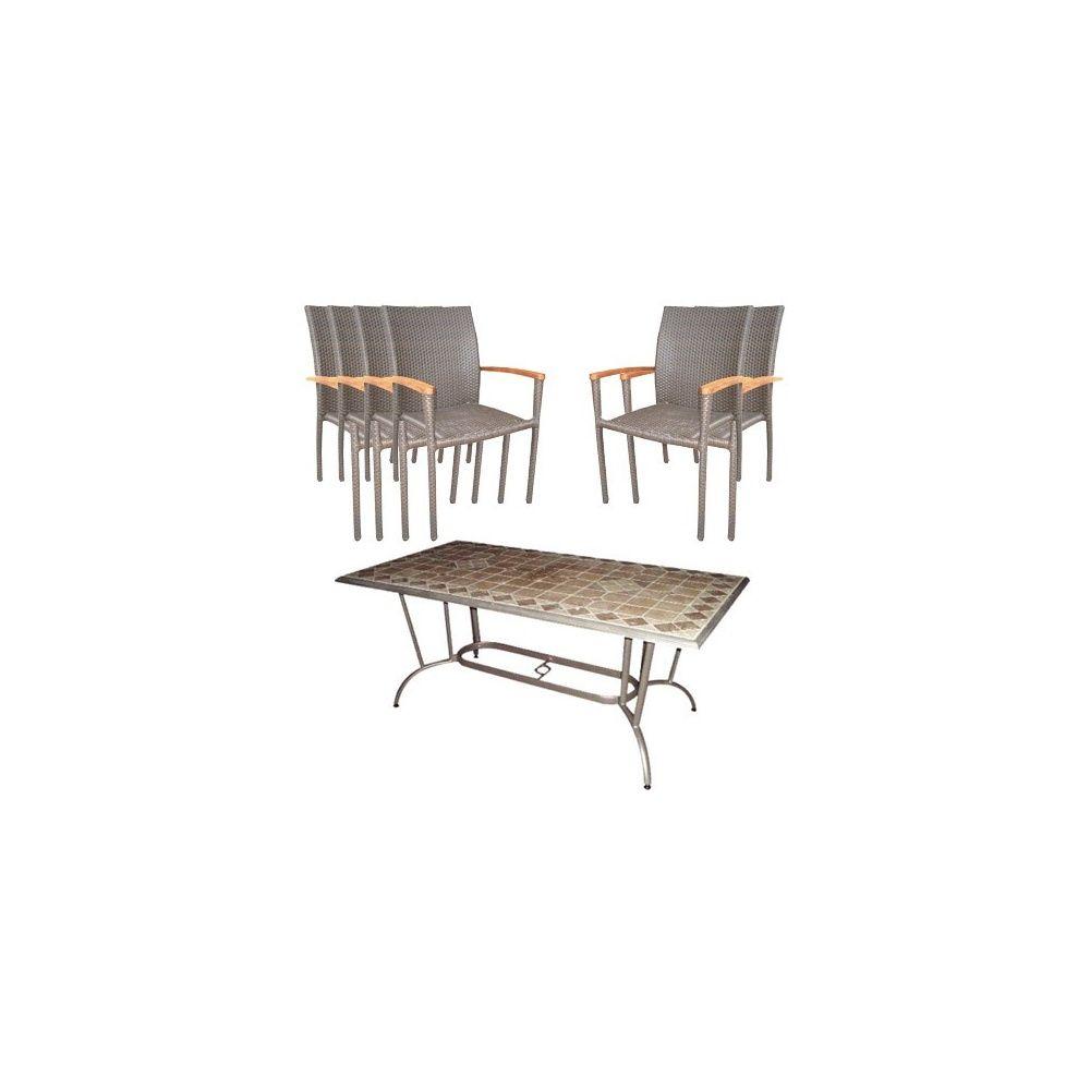 Salon Palm : Table travertin + 6 fauteuils