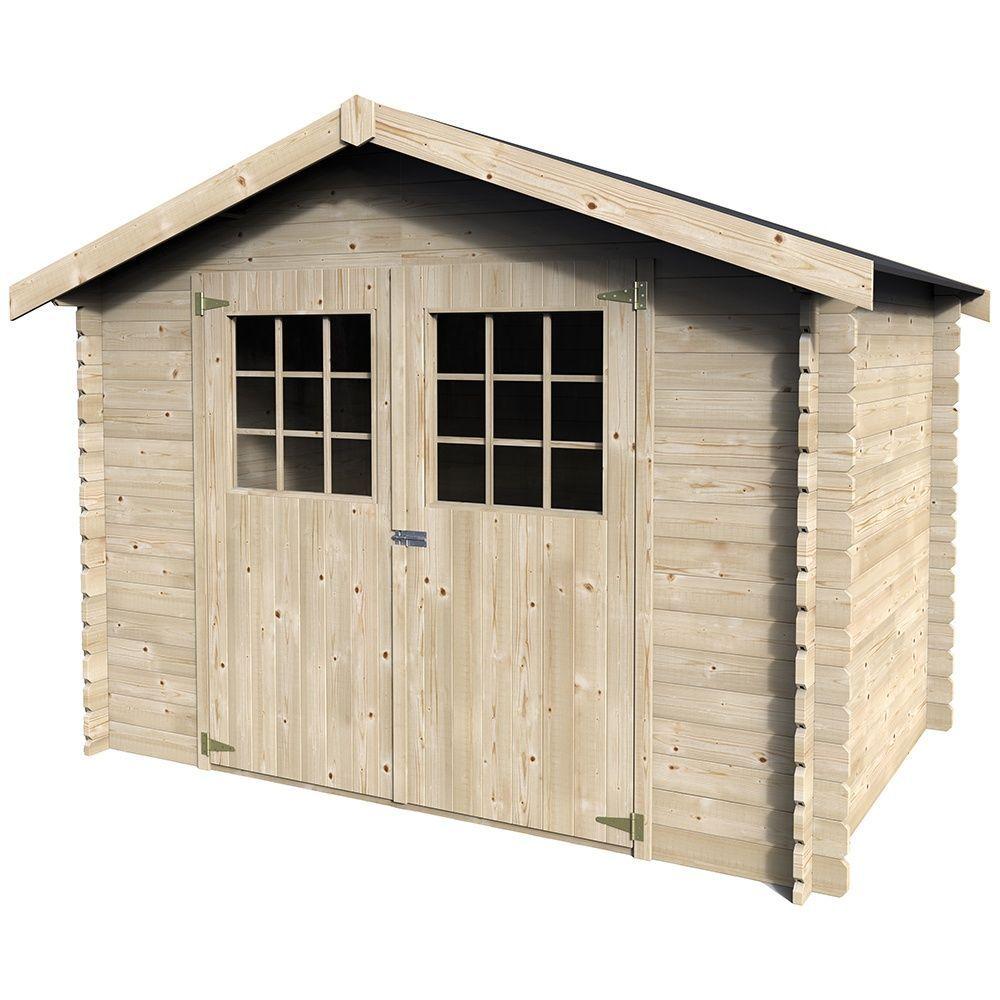Abri de jardin en bois 6.75 m² Ep.28 mm Flodova