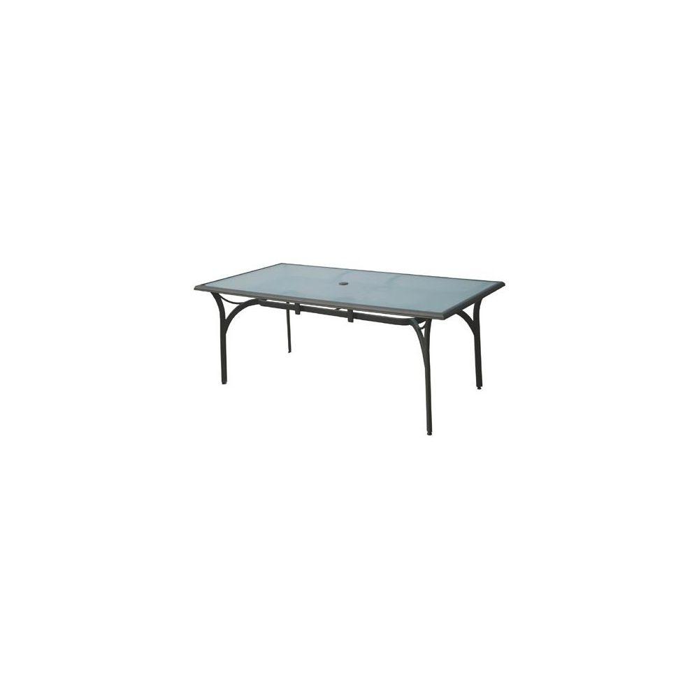 Table Aluminium Anthracite Plateau Verre Trempe