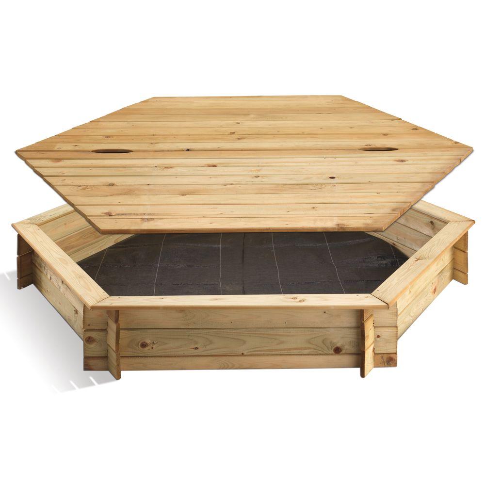 Bac à sable bois traité hexagonal avec couvercle