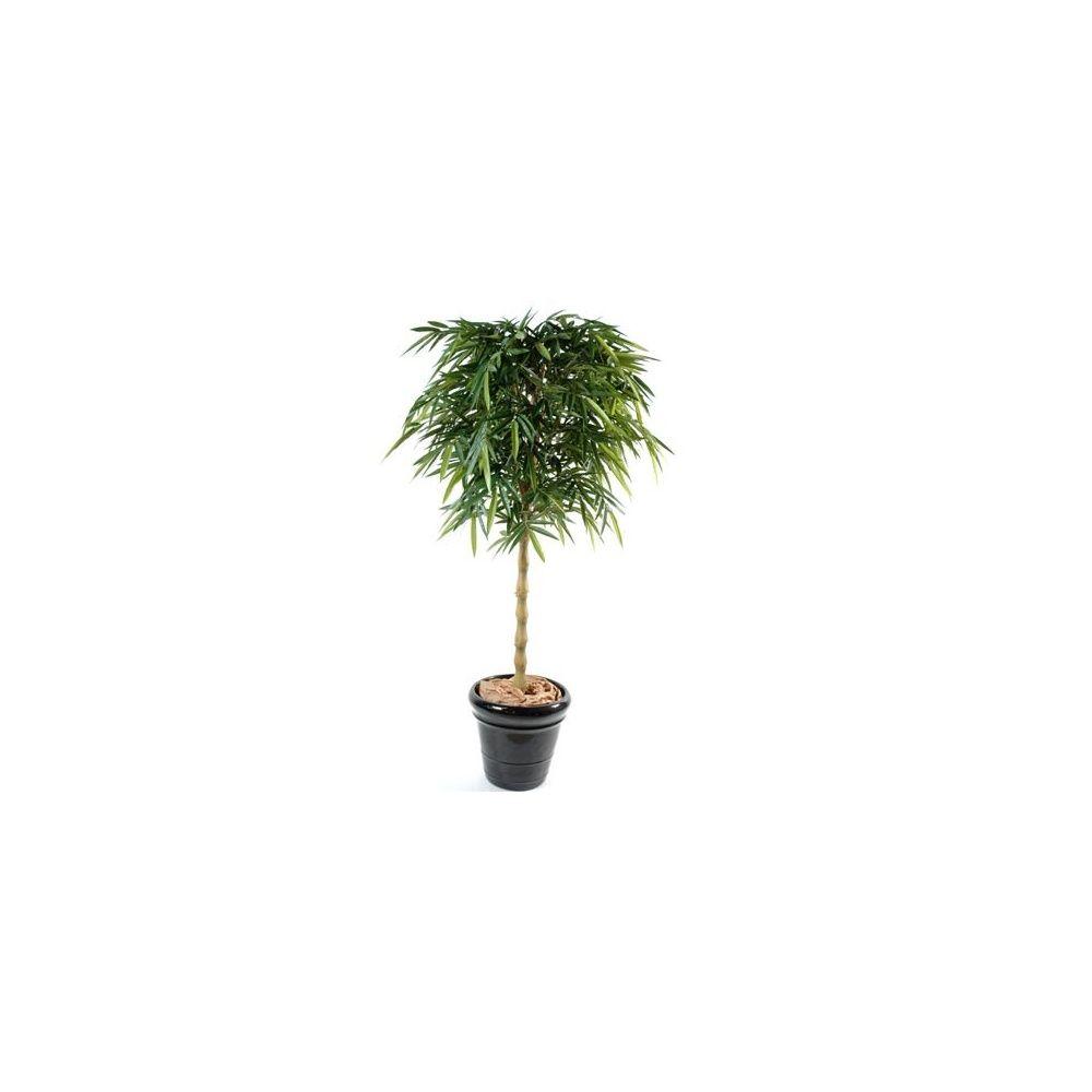 Bambou New Bouddha, 2m10 (tronc naturel, feuillage artificiel) + pot classique