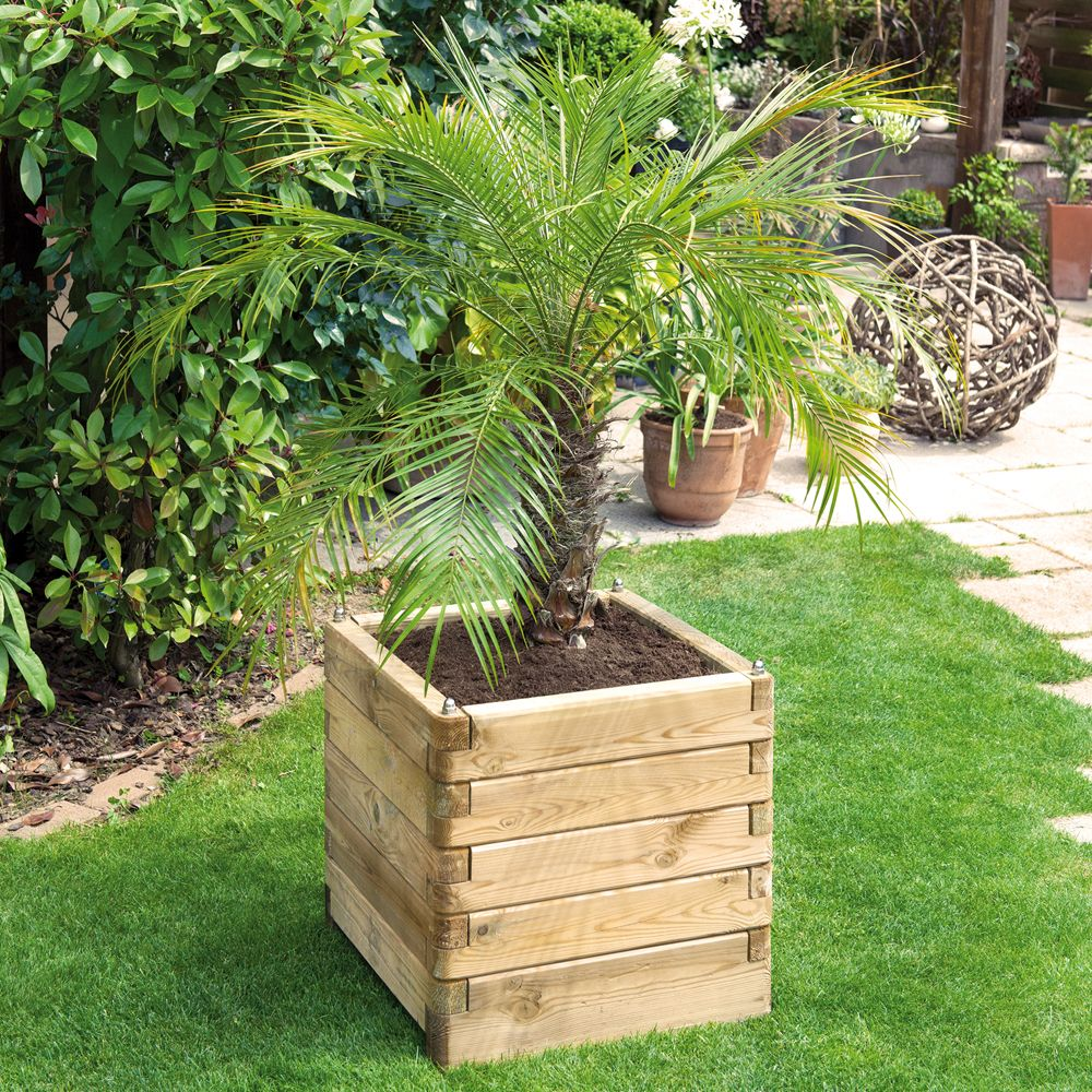 Bac à fleurs bois traité autoclave L50 H50 cm Oléa