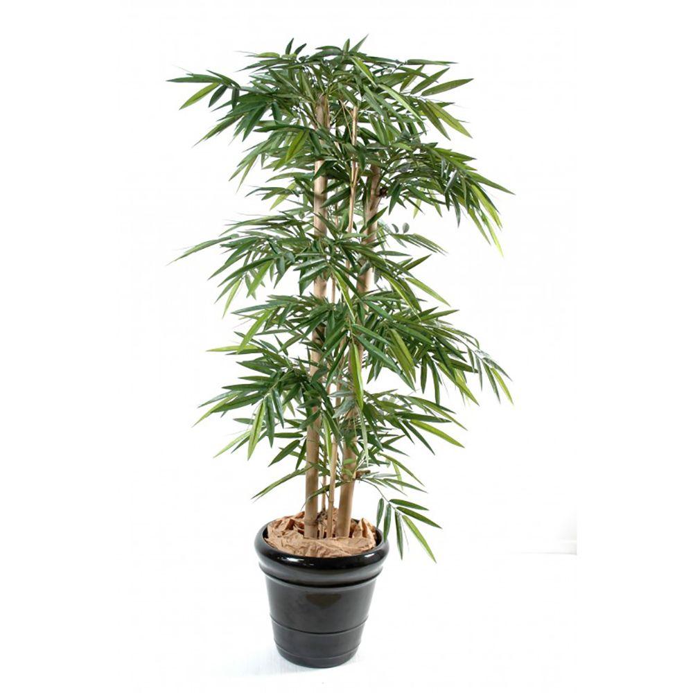 Bambou grosses cannes H150 cm (cannes naturelles, feuillage artificiel) non rempoté