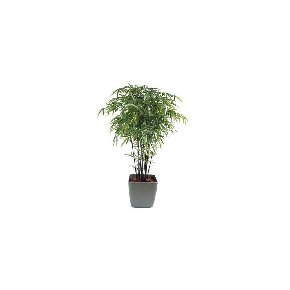 Bambou à cannes noires H210cm (cannes naturelles, feuillage artificiel) pot Lechuza anthracite