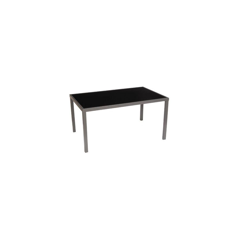 Table de jardin Star pour 6 personnes en aluminium et verre trempé -  160x100cm - Noir