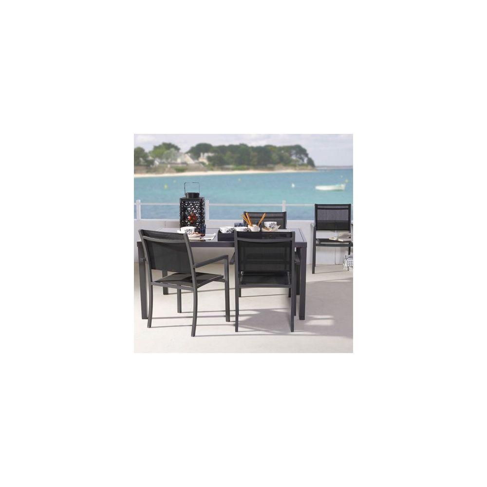 Salon de jardin Star : table 160 cm + 4 fauteuils en aluminium et ...
