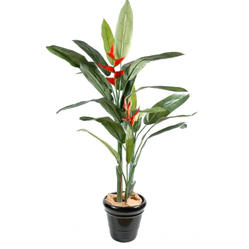 Heliconia H180cm artificiel (tronc naturel, feuillage artificiel) pot classique