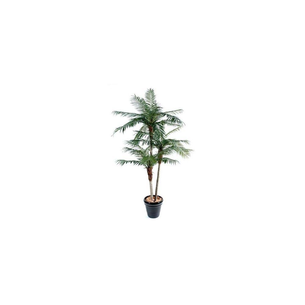 Phoenix 3 troncs (tronc fibre de verre, feuillage artificiel) hauteur 210cm + pot classique