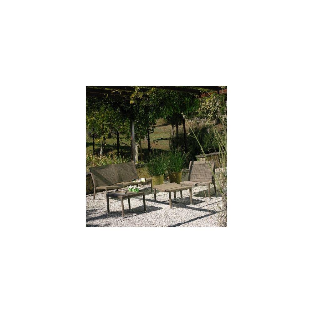 Salon de jardin Irving en résine tressée viro, structure en aluminium:  table + 2 fauteuils + canapé