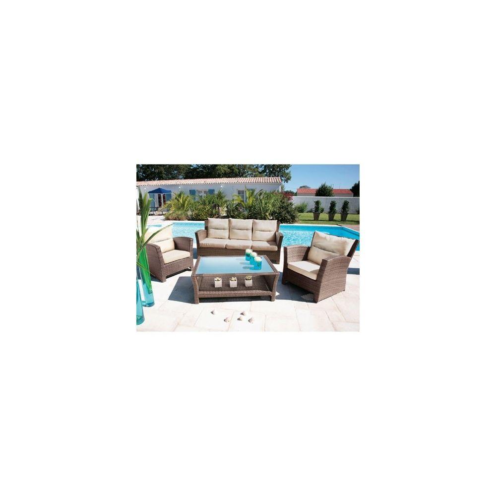 Salon de jardin Seattle: canapé 3 places + 2 fauteuils + 1 table basse