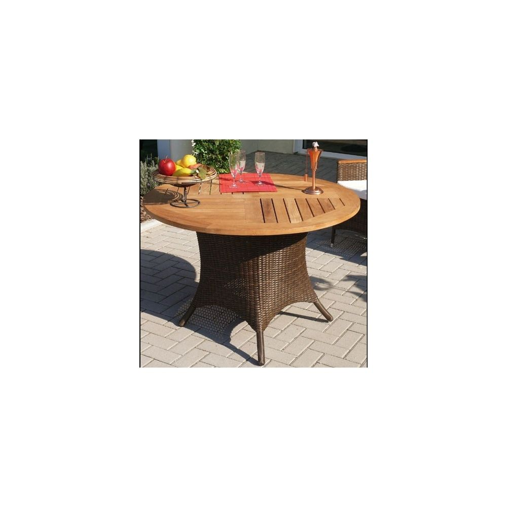 Table de jardin ronde avec plateau en teck et pieds en osier polypro -  Dream Garden