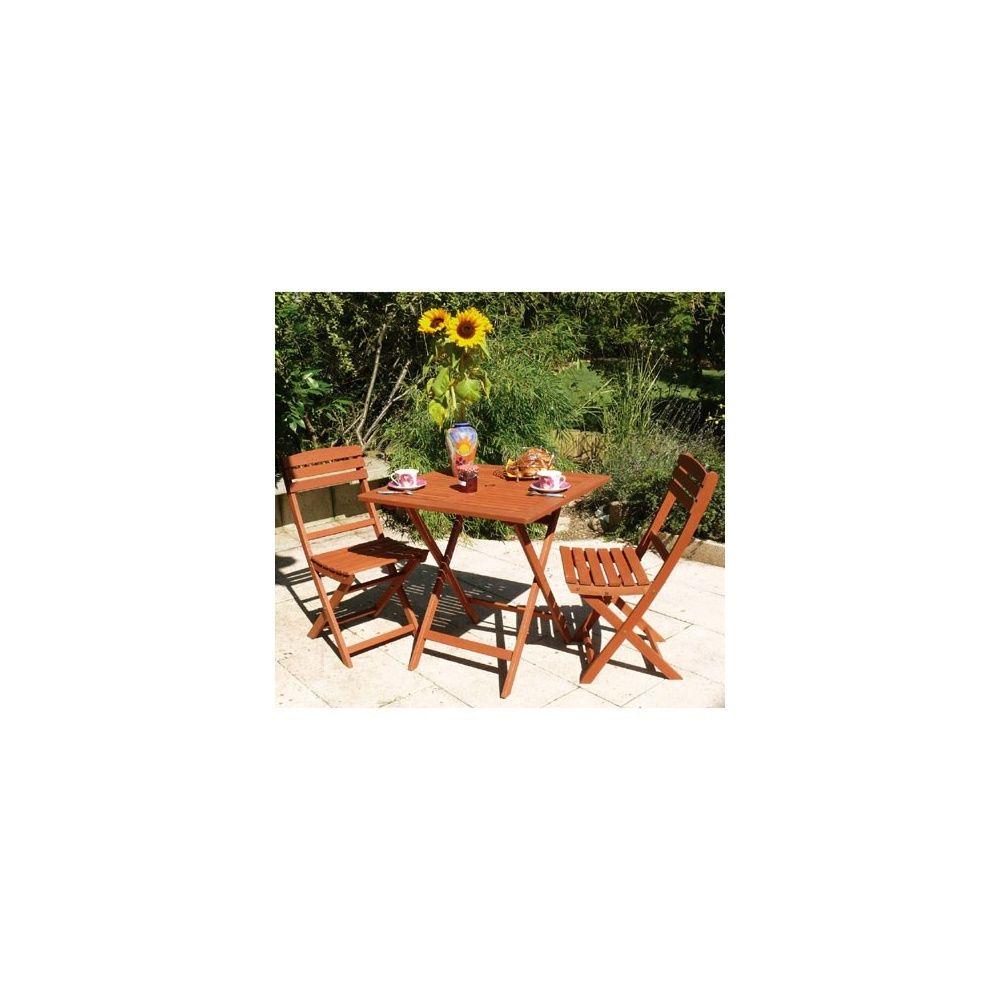 Salon de jardin en bois keruing: Table pliante carrée 75 x 75 cm + 2  chaises pliantes