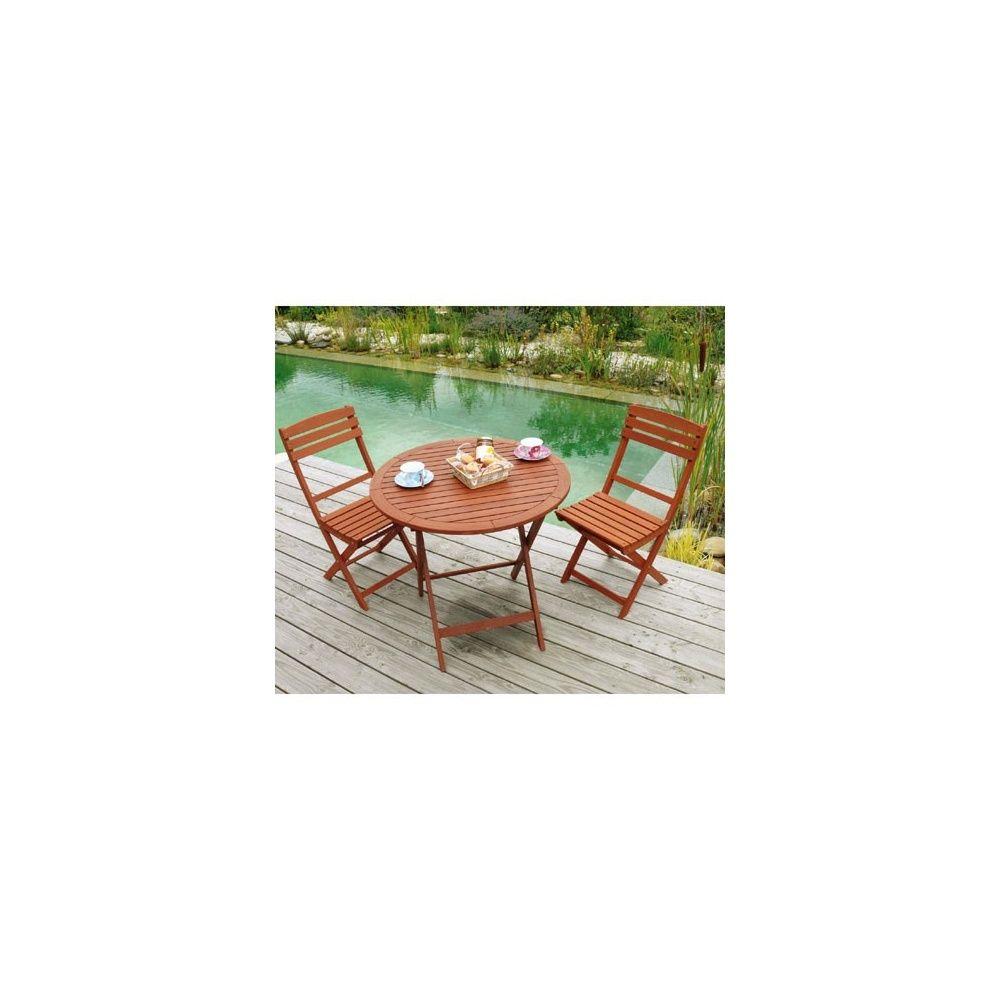Salon de jardin en bois keruing: Table pliante ronde Diam 80 x 74 cm ...