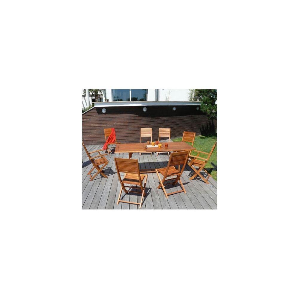 Salon de jardin en bois eucalyptus: table extensible + 6 chaises pliantes