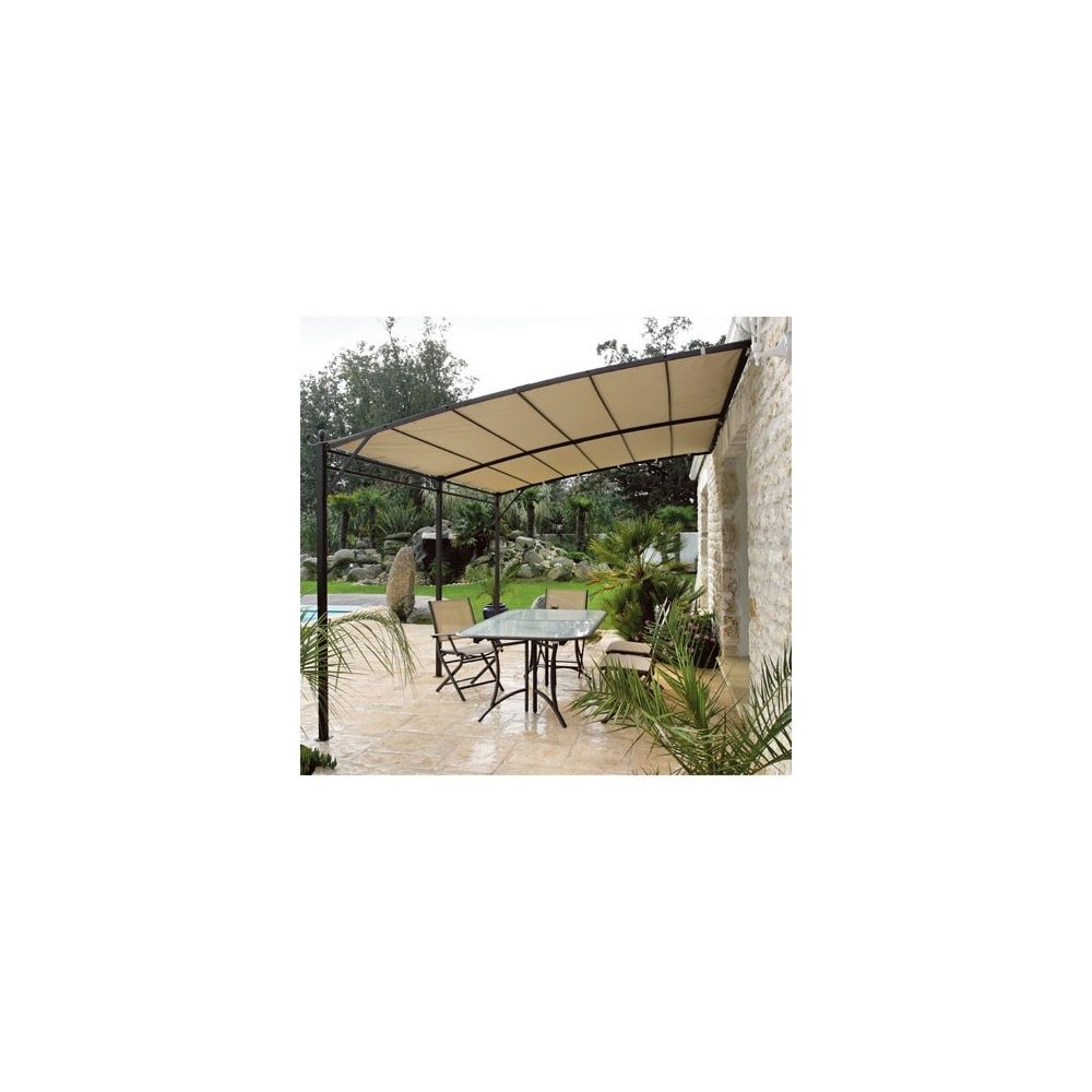 Tonnelle de jardin adossée 3x4m en acier avec toile 230gr/m² Carton ...