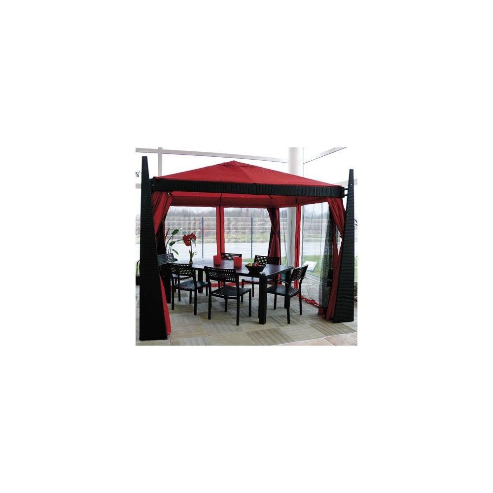 Tonnelle de jardin 3 x 3 m en aluminium et en osier polypro+toile en  polyester+rideaux+moustiquaires