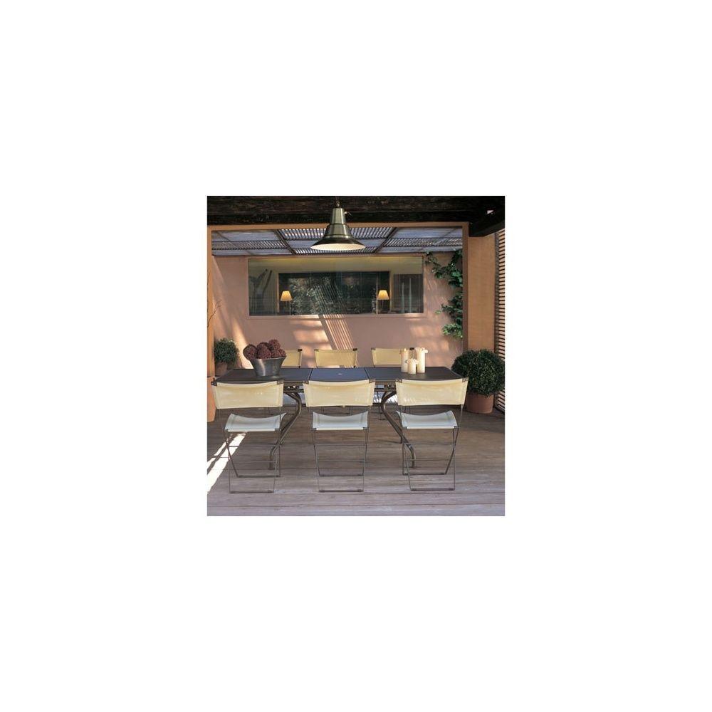 Salon de jardin 4 places: Table extensible Piano + 4 chaises Axa - coloris  marron - EMU