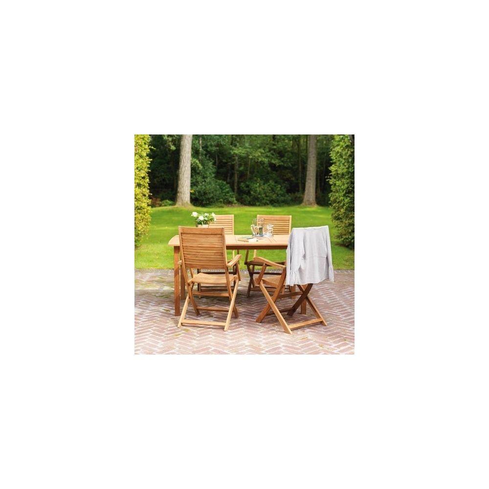 Salon de jardin pour 4 personnes en teck FSC table 150 x 90 x 75 cm - Lake  Moraine