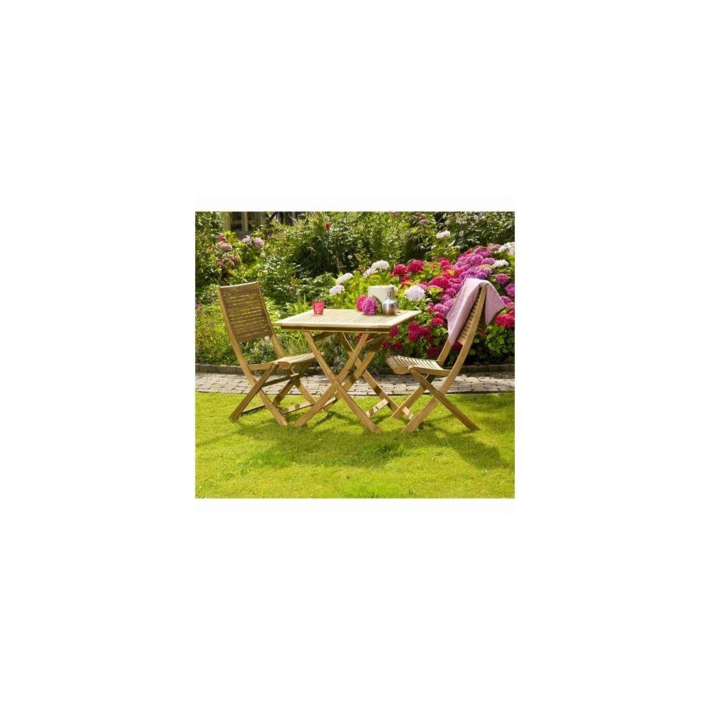 Salon de jardin en teck FSC 2 places Lake Moraine 1 colis de 112 x ...