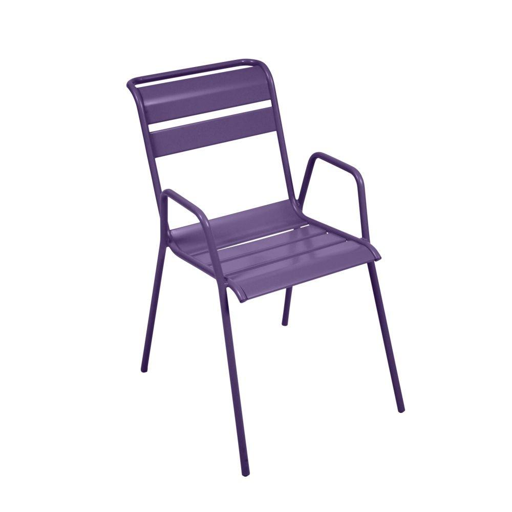 Chaise empilable Fermob Monceau acier aubergine 68,5 x 53,5 x 97 cm ...