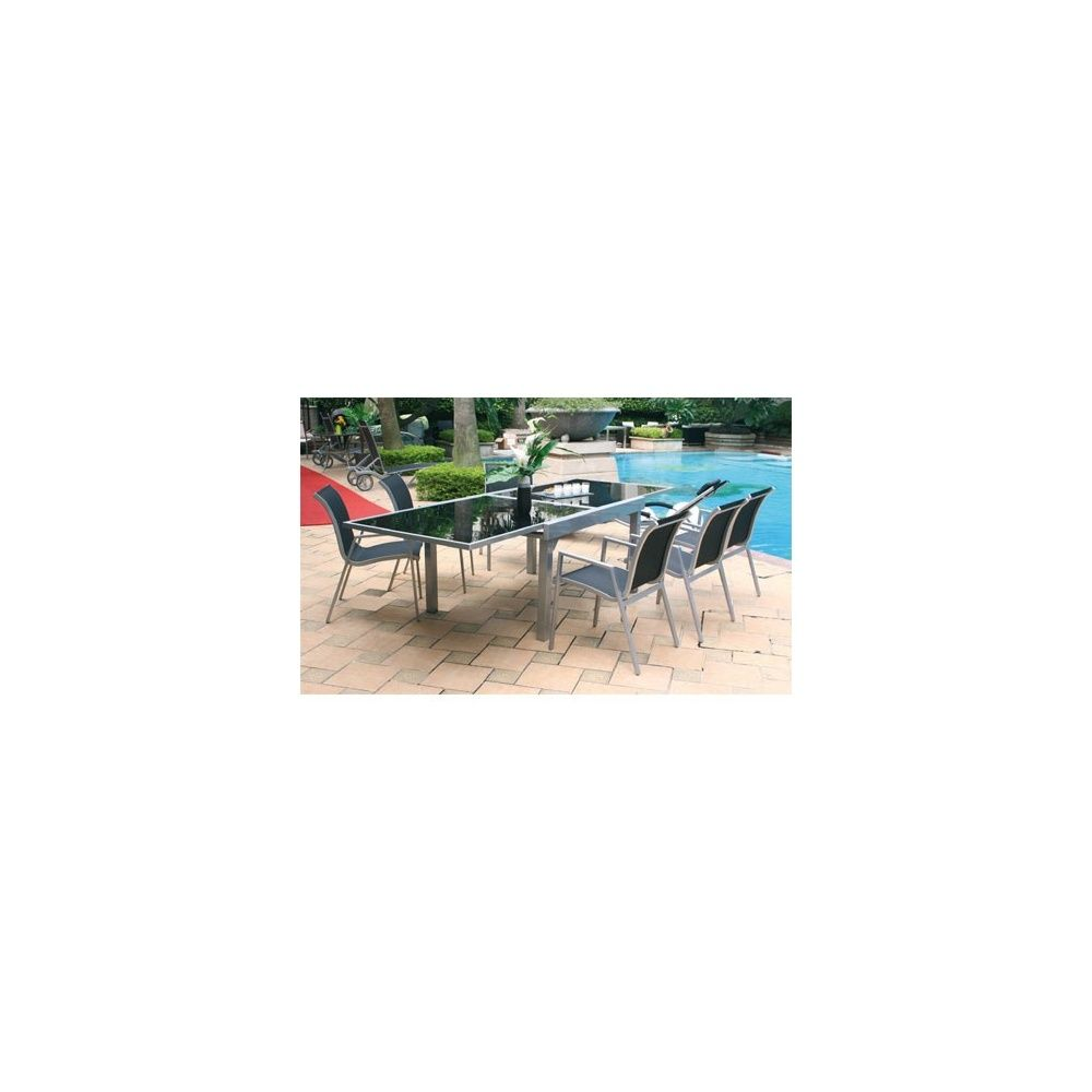 Table de jardin aluminium plateau extensible en verre 135/270 cm