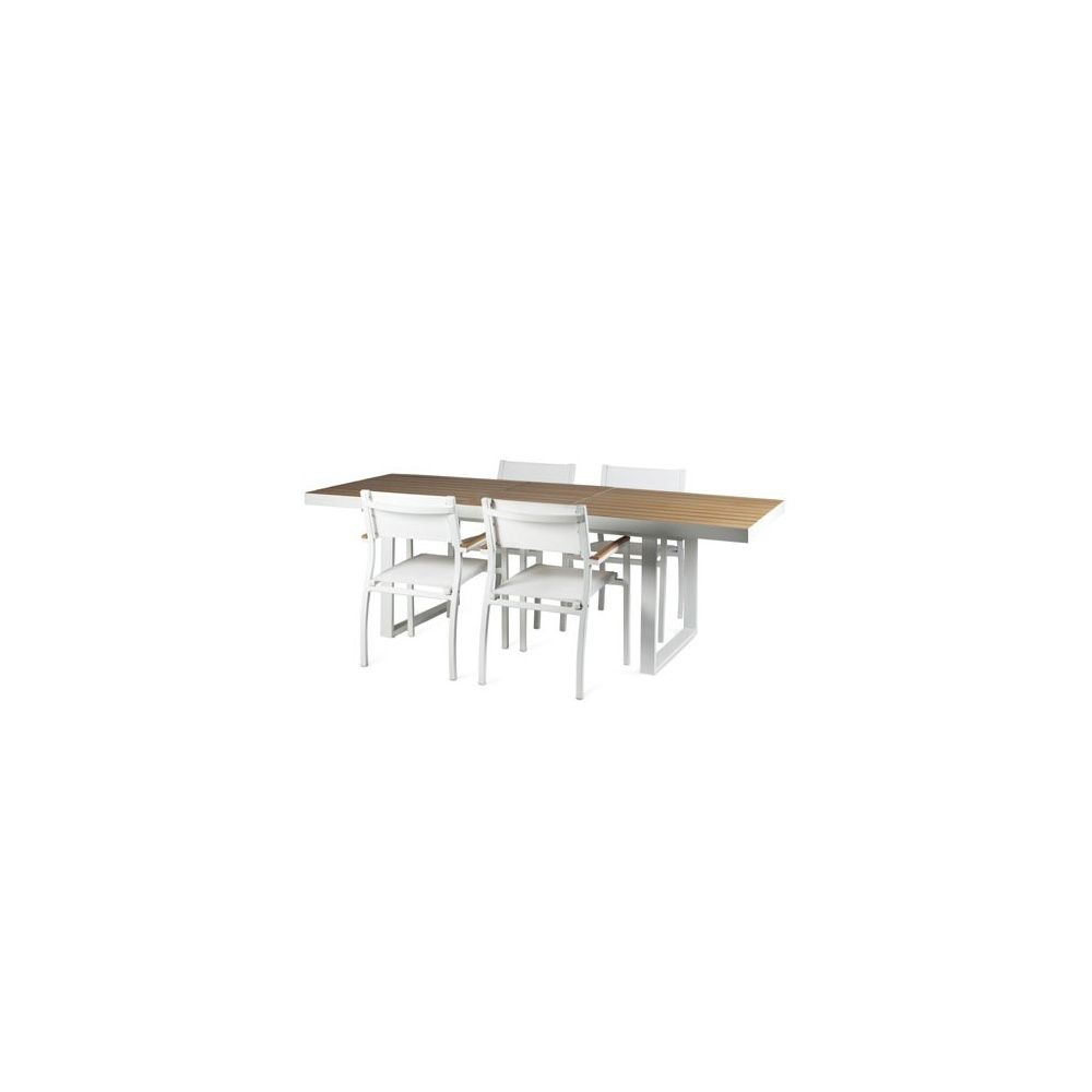 Table de jardin à rallonge 180 cm / 240 cm 10 personnes imitation bois  polywood aluminium Club