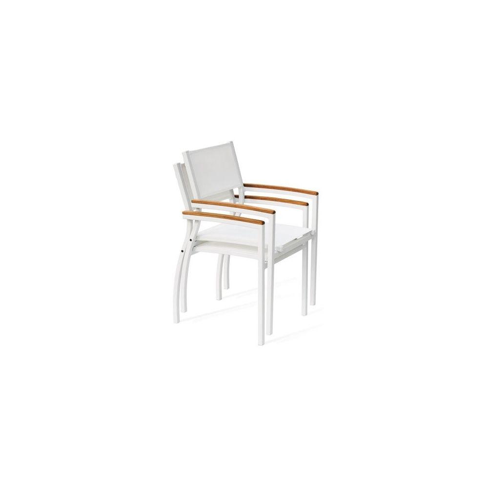 Fauteuil aluminium textilène blanc accoudoirs imitation bois Tempo