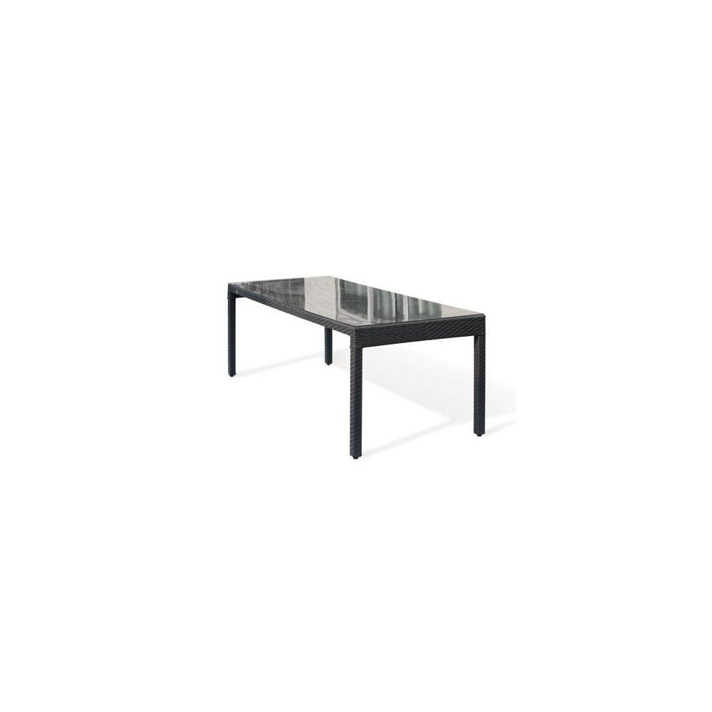 Table de jardin en résine tressée wicker 220 cm plateau verre