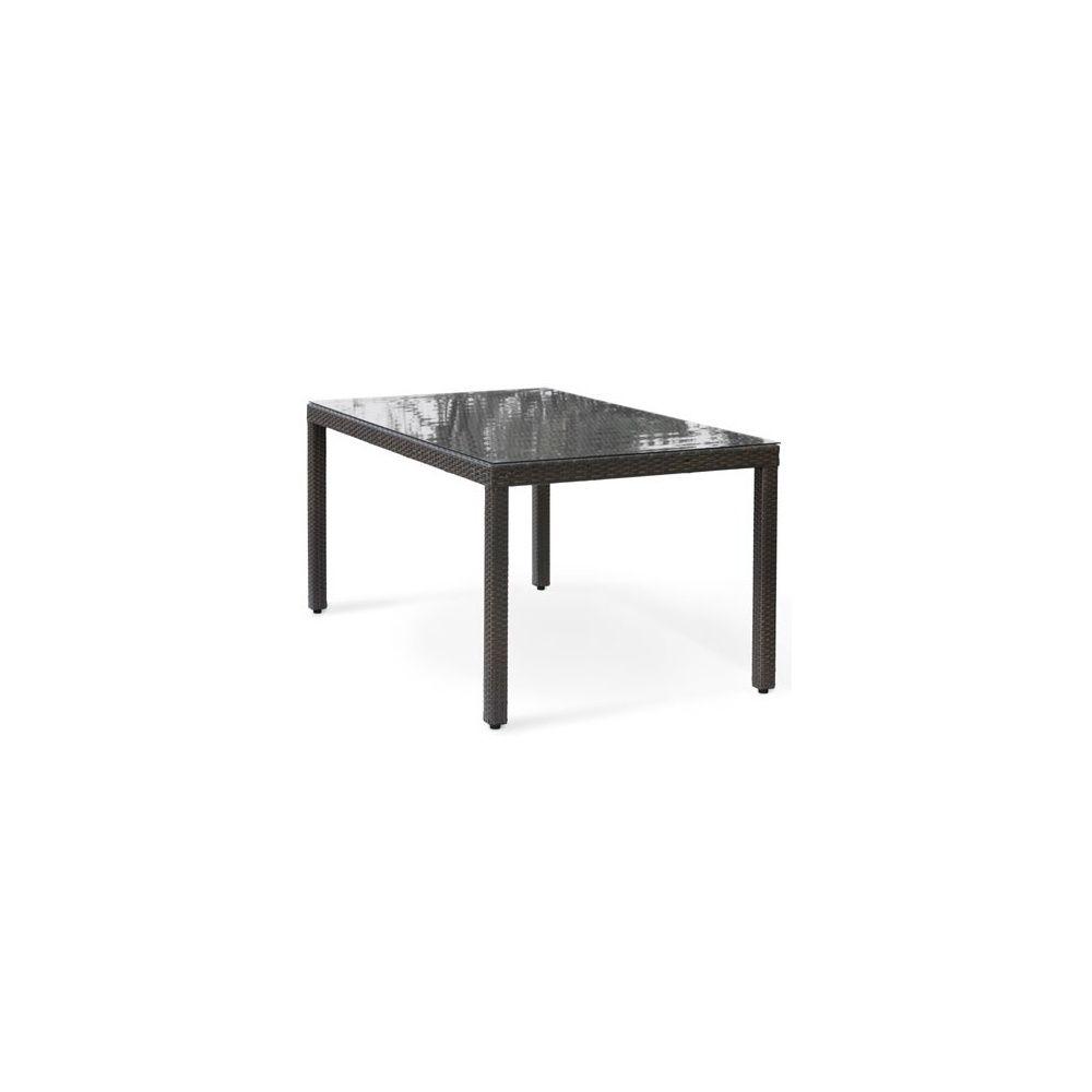 Table de jardin en résine tressée wicker 180 cm 6 personnes plateau verre  anthracite