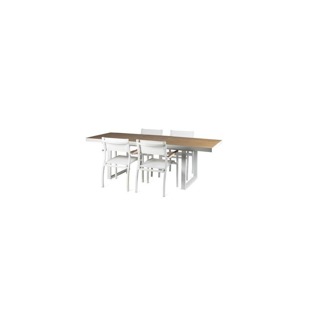 Salon de jardin 4 convives table à rallonge en polywood + 4 fauteuils en  aluminium textilène