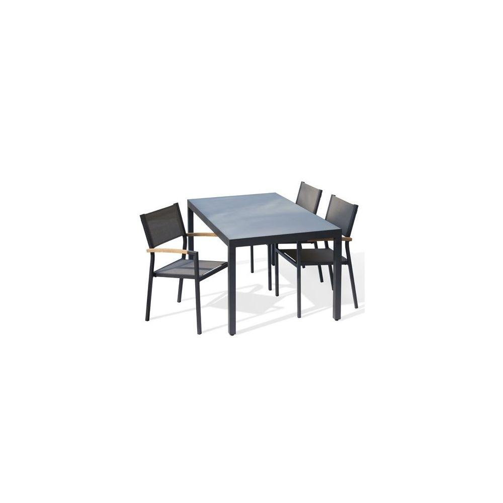 Salon de jardin 4 convives table plateau en verre + 4 fauteuils en  textilène empilables