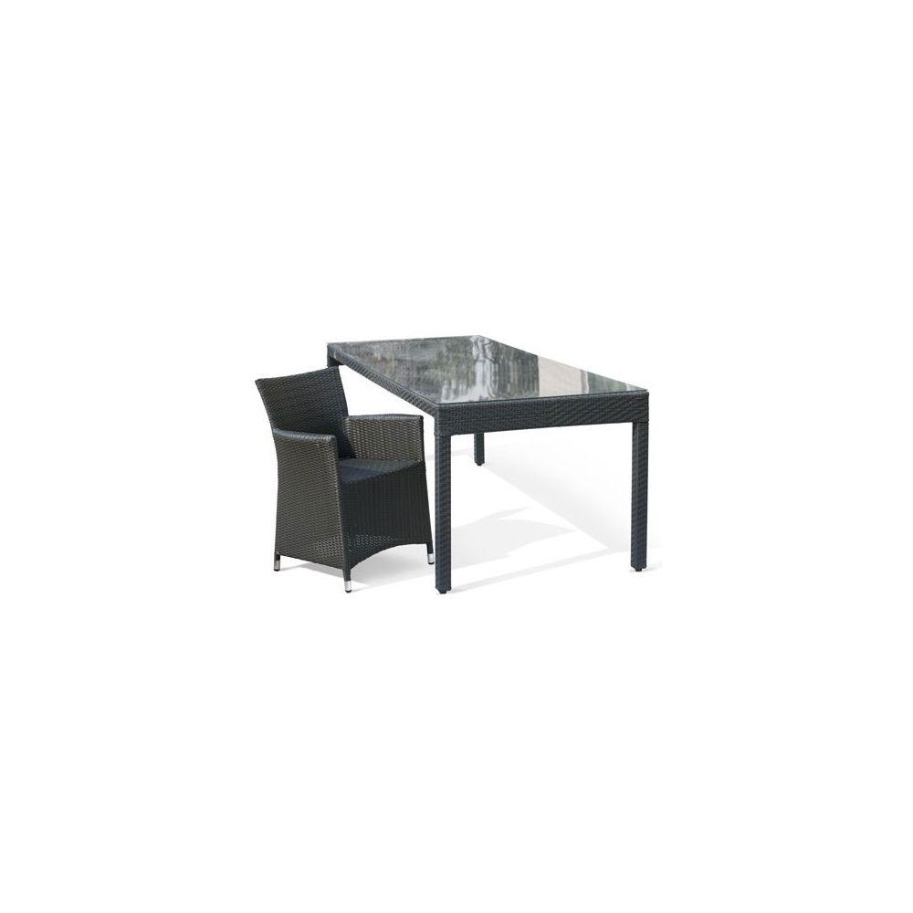 Salon de jardin 4 personnes en résine tressée wicker table 220 cm + 4  fauteuils