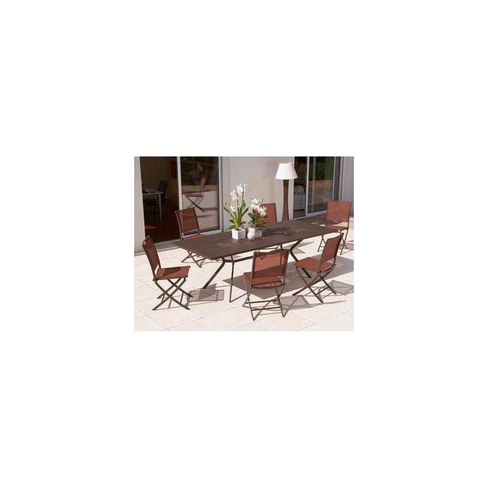 Salon de jardin 6 personnes rouille en acier et textilène table 180/240 x  100 cm + 6 chaises