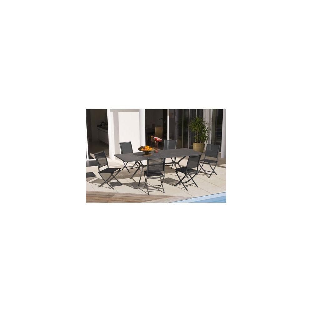 Salon de jardin 6 personnes anthracite en acier et textilène table 180/240  + 6 chaises