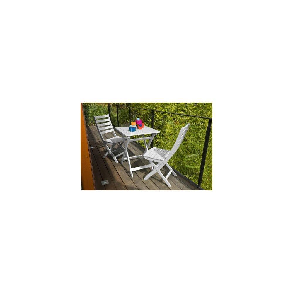 Salon de jardin 2 personnes bois blanc table balcon 60 x 60 cm