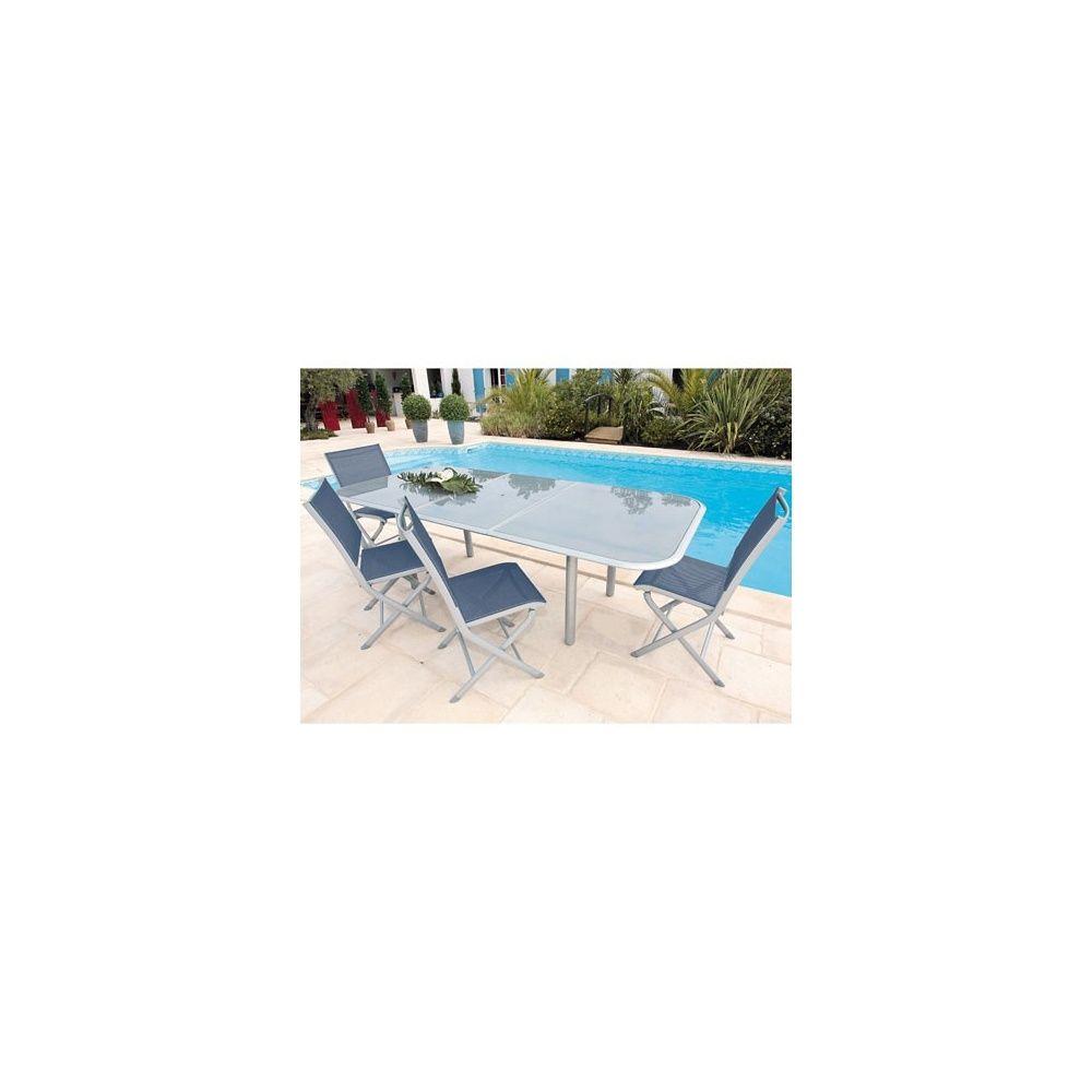 Salon de jardin Elegance : table à rallonge aluminium 180/240 + 6 chaises  textilène