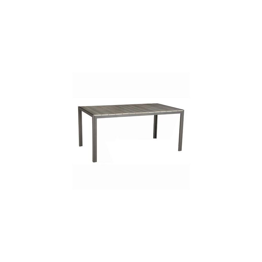 Table de jardin 160 cm 6 personnes imitation bois polywood aluminium ...