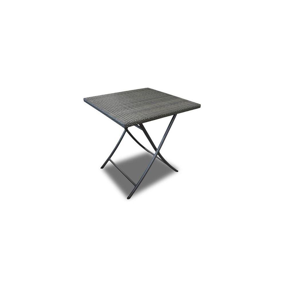 Table pliante Café en résine tressée - 70 x 70 cm - Gris 1 carton ...