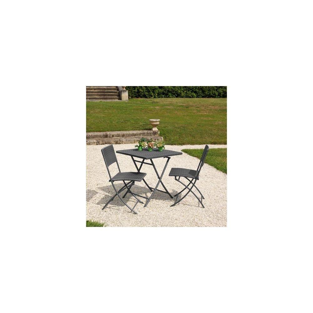 Salon de jardin 2 pers résine tressée gris Guéridon: table 70x70 ...