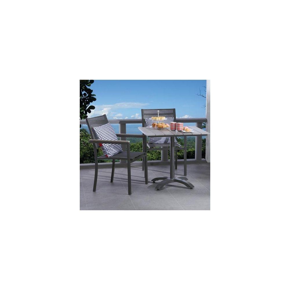 Salon de jardin - table 70x70 polywood + 2 fauteuils aluminium et ...