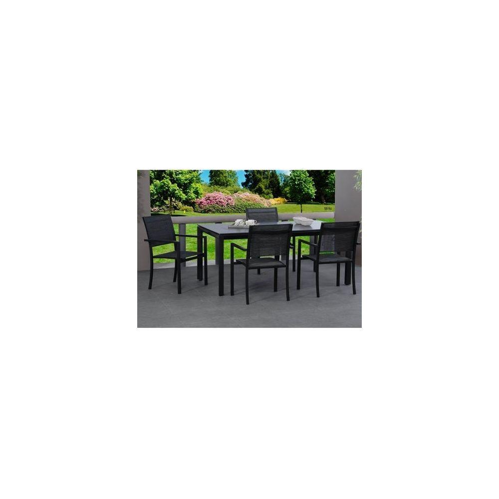 Salon de jardin Salsa : table 180 cm + 4 fauteuils en aluminium et textilène