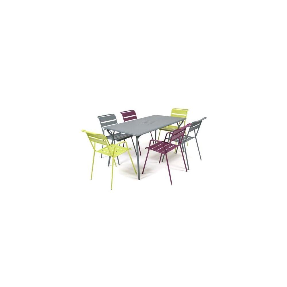Salon de jardin Fermob Monceau : Table l146 L80 cm + 6 chaises 1 ...