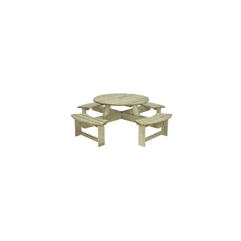 Table pique-nique ronde 250x250x70 cm en bois massif - Pablo