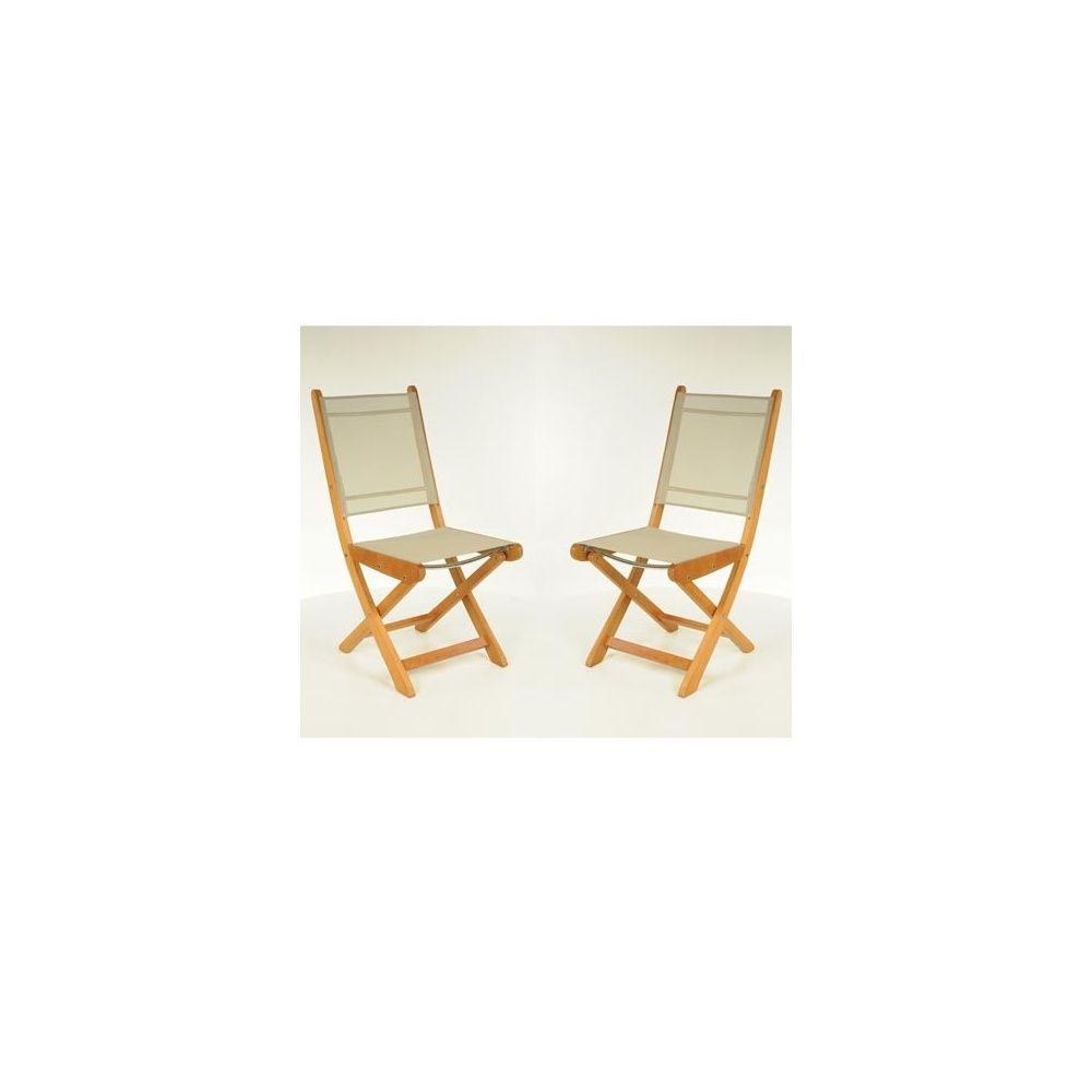 Chaise pliante Newton en teck FSC et textilène - Taupe - Lot de 2