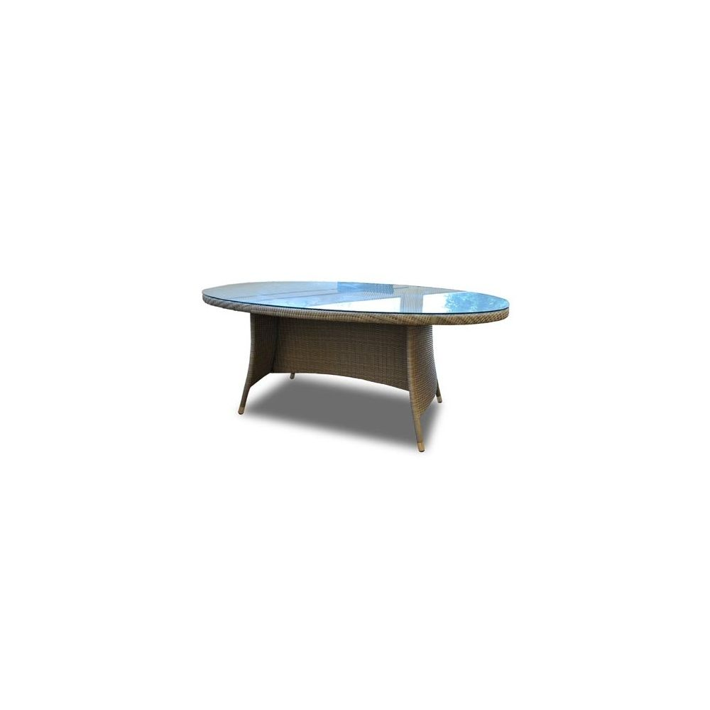 Table ovale Belfort en résine tressée + plateau en verre trempé - Gris - 10  personnes