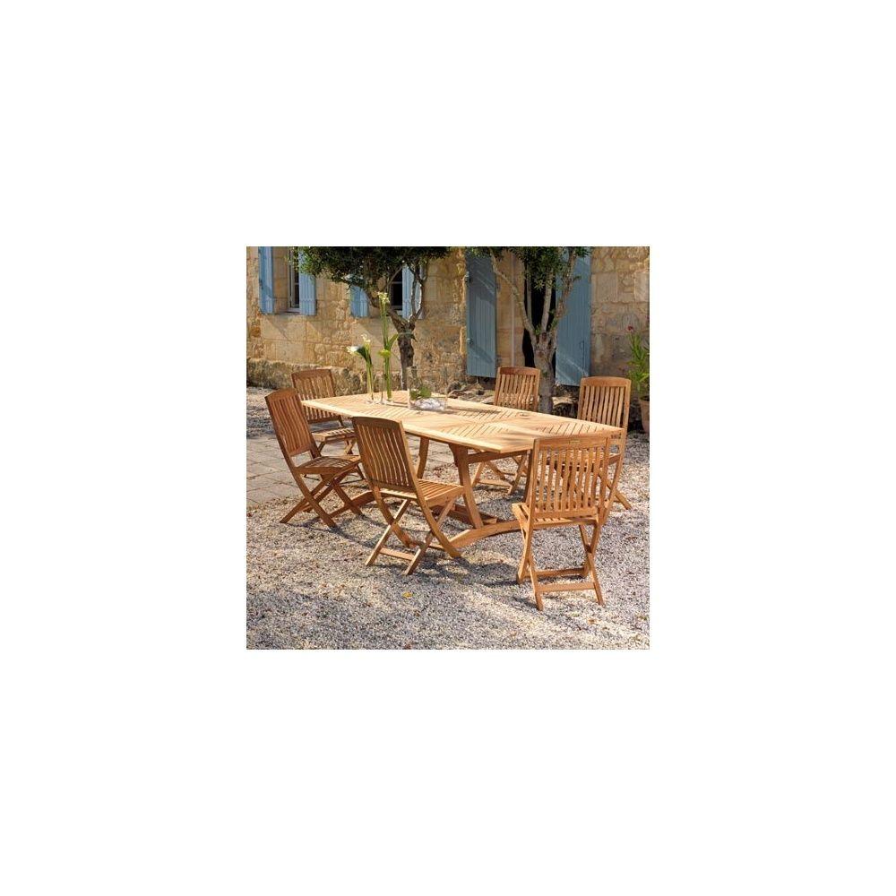 Table de jardin oblongue Honfleur avec deux allonges en teck FSC