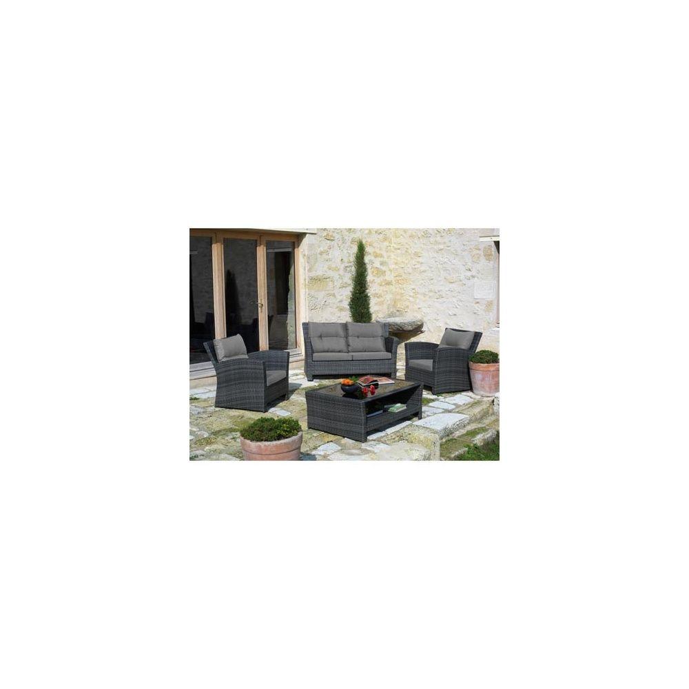 Salon de jardin 4 places en résine tressée gris: canapé 2 places + 2  fauteuils + 1 table basse