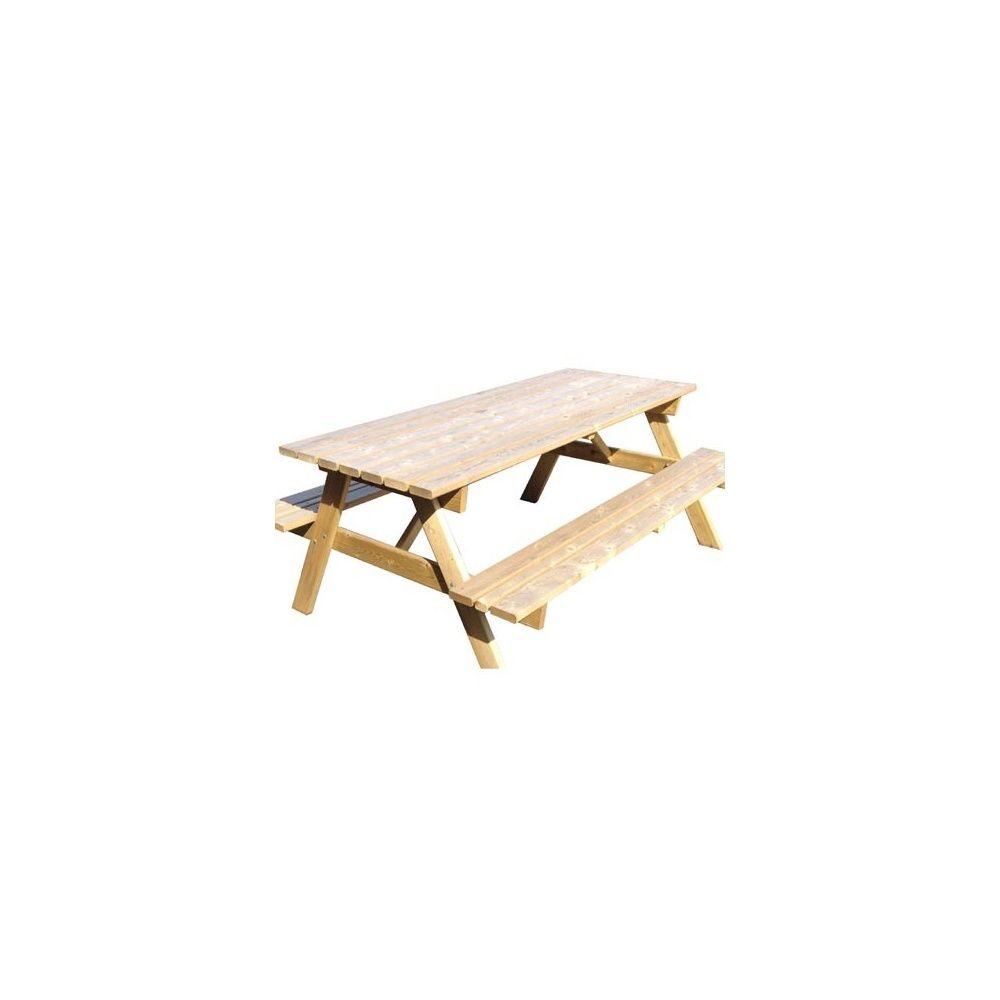 Table de pique nique en bois traité 1m80 - Décor et Jardin