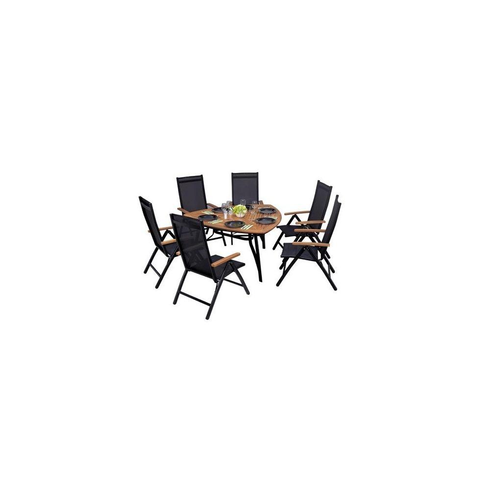 Salon de jardin Bermudes 6 places en teck et aluminium: 1 table triangle +  6 fauteuils